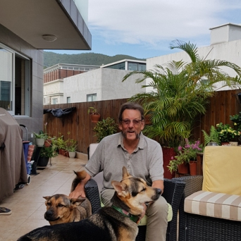 Jim with the dogs