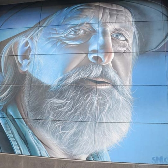 Great painting of a bearded guy, Little Bourke Street, Melbourne