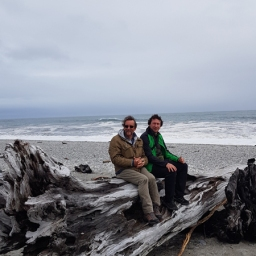 Oggy & i on the beach, the driftwood is big there!