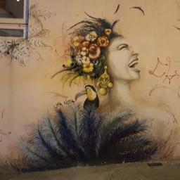 'Portrait of a woman with a flower headdress' on Ladder Street.