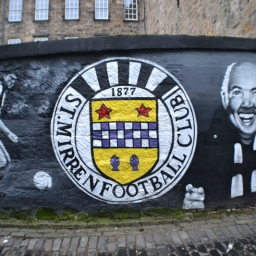 St Mirren mural with Chick Young by Mark Worst.