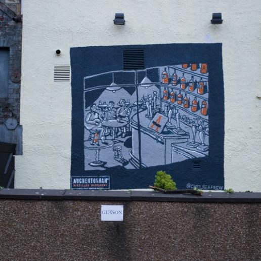Auchentoshan Whisky mural at the rear the Bon Accord