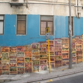 This mural on Graham Street depicts traditional Hong Kong townhouses