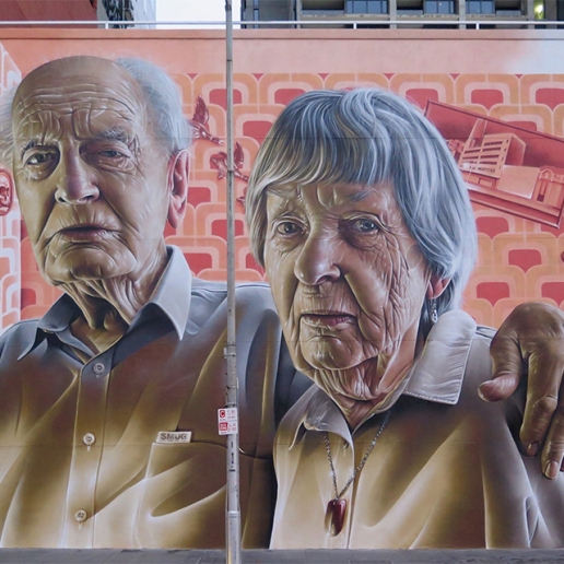 A fabulous painting of an elderly couple, Lonsdale Street, Melbourne