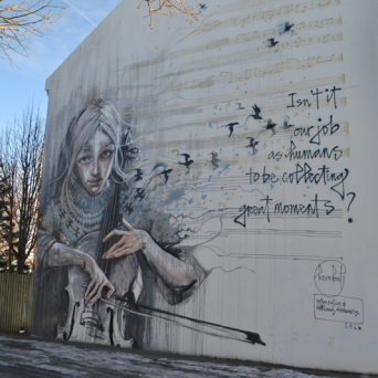 Herakut collaborated on their wall with Kronos Quartet.