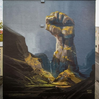 Wes21 and Onur collaborated on their wall with the Icelandic band Of Monsters and Men.