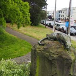 Lion statue by M. Earl Cumminos. at Golden Gate Park